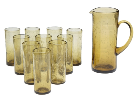conjunto de copos com jarra em vidro de murano, Itália, anos 1960 - acervo Legado Arte