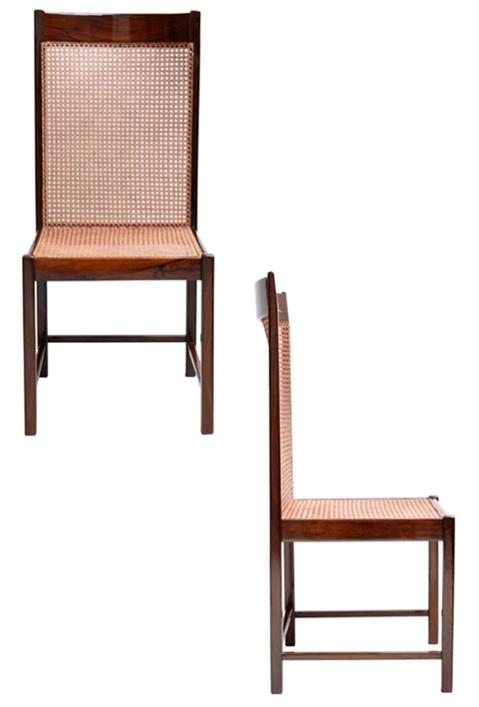 cadeira de espaldar alto em jacarandá e palhinha desenhada por Sergio Rodrigues